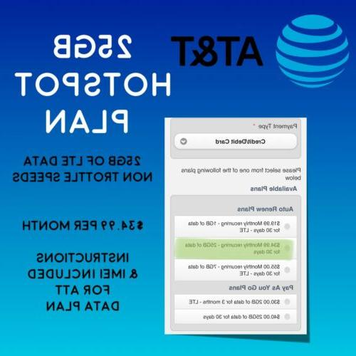 at and t 25gb untrottled data plan